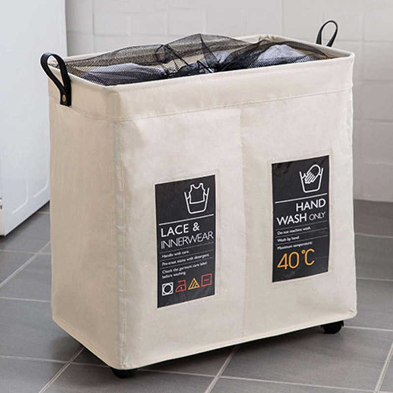 Foldable Storage Basket With Wheels Caster Laundry Basket Collapsible Large Hamper Barrel Dirty Clothes Laundry Bag Organization