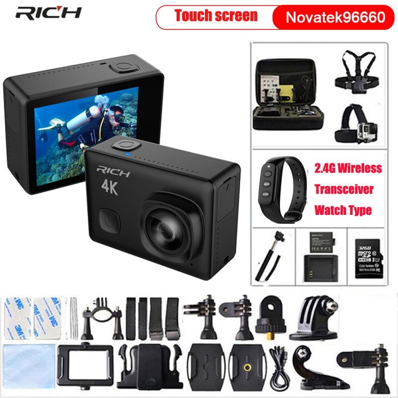 Caméra d'action Ultra HD 4K 24fps 1080 p/60fps NTK96660 IMX081WiFi 170D Len 12MP go casque Cam pro étanche 30m caméra Sport