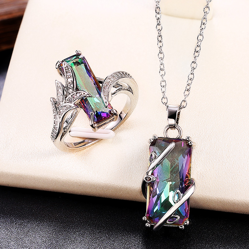 Huitan Multicolored Rectangular Stone Ring/Necklace Set Novel Design Anniversary Party Women Jewelry Factory Direct Selling Set