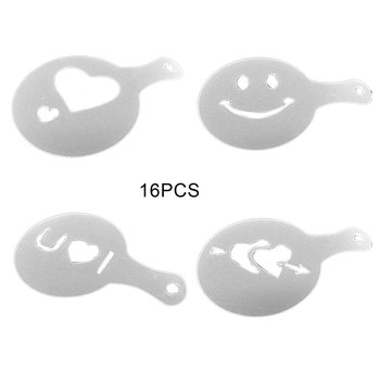 16Pcs Coffee Stencils Cappuccino Barista Art Drawing Foam Spray Stencils Templates Coffee Printing Mold Coffee Accessories Cafe image