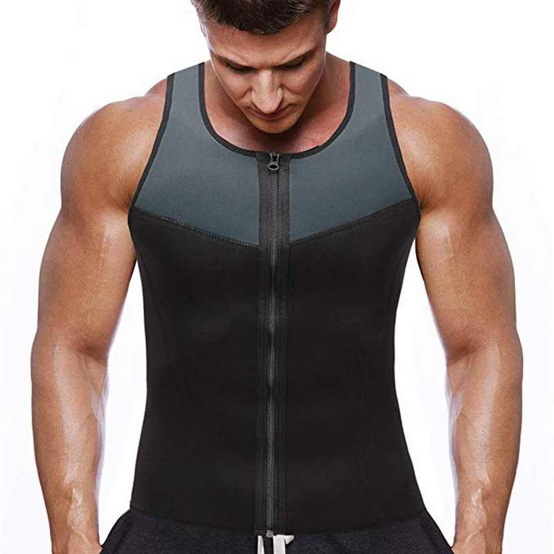 Oeak Pria Fashion Kebugaran Gym Neoprene Sauna Rompi Baru Berkeringat Panas Pinggang Pelatih Tubuh Shaper Pelangsing Sesuai Berat Badan Zipper rompi