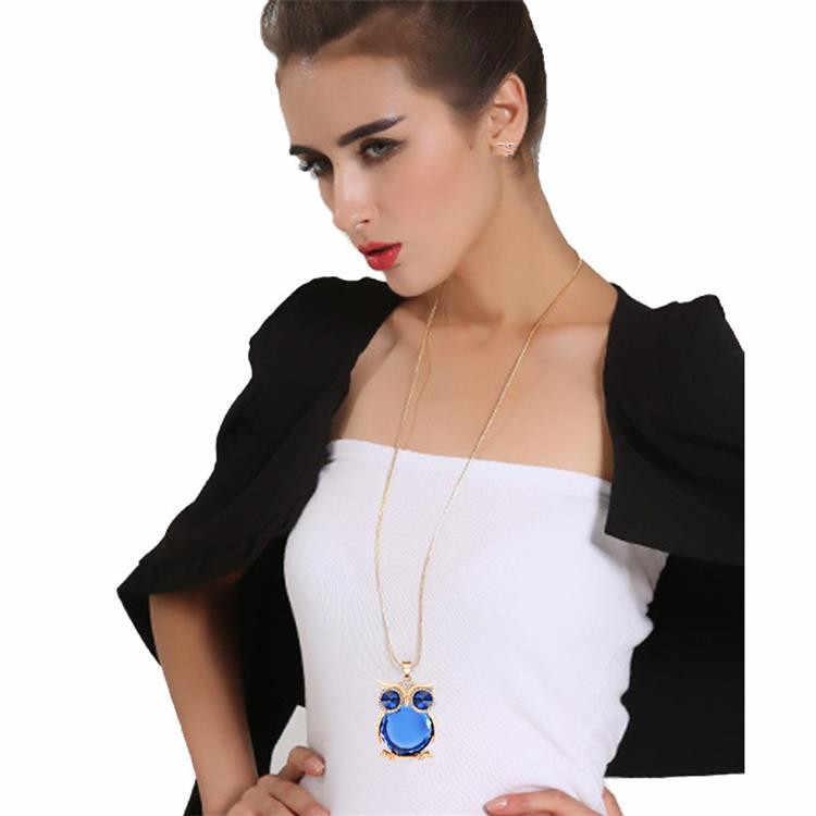 Popular señoras collar estilo Retro lindo búho mosaico cristal largo suéter collar joyería al por mayor