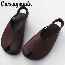 Careaymade-Genuine leather Japanese Literature Retro Handmade Sandals Flat Soft Bottom Original Single-Head Female