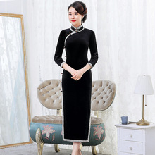 2019 Rushed Bud Velvet Cheongsam Dress Pure Color High grade Improved Daily Banquet Big Yards Mother Restoring Ancient Ways