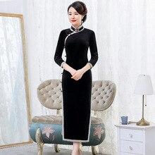 2019 Xông Nụ Nhung Sườn Xám Đầm Màu Nguyên Chất Cao Cấp Cải Tiến Hàng Ngày Tiệc Lớn Thước Mẹ Cổ Xưa