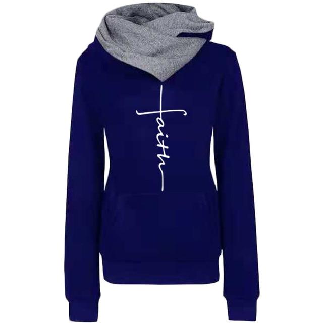 Autumn Winter Hoodies Sweatshirts Women Faith Embroidered Sweatshirt Long Sleeve Pullovers Christmas Casual Warm Hooded Tops 5