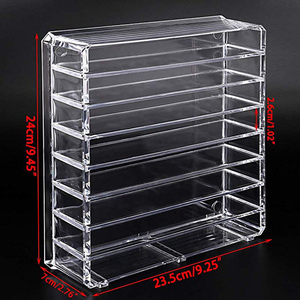 Image 5 - 8 layer Makeup Storage Box Acrylic Cosmetic Organizer Transparent Lipstick Blush Storage Display Compartment Grid Plastic Box