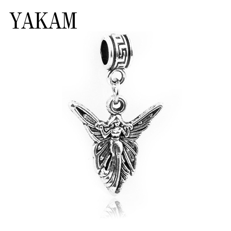 Butterfly Charm Bead With Dangling Flower Pendant For European Charm Bracelets