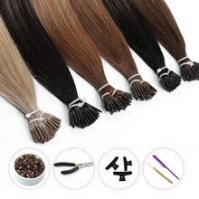 Предварительно скрепленные накладные волосы MRSHAIR, накладные прямые человеческие волосы с I-образным кончиком, прямые волосы в капсулах, нат...