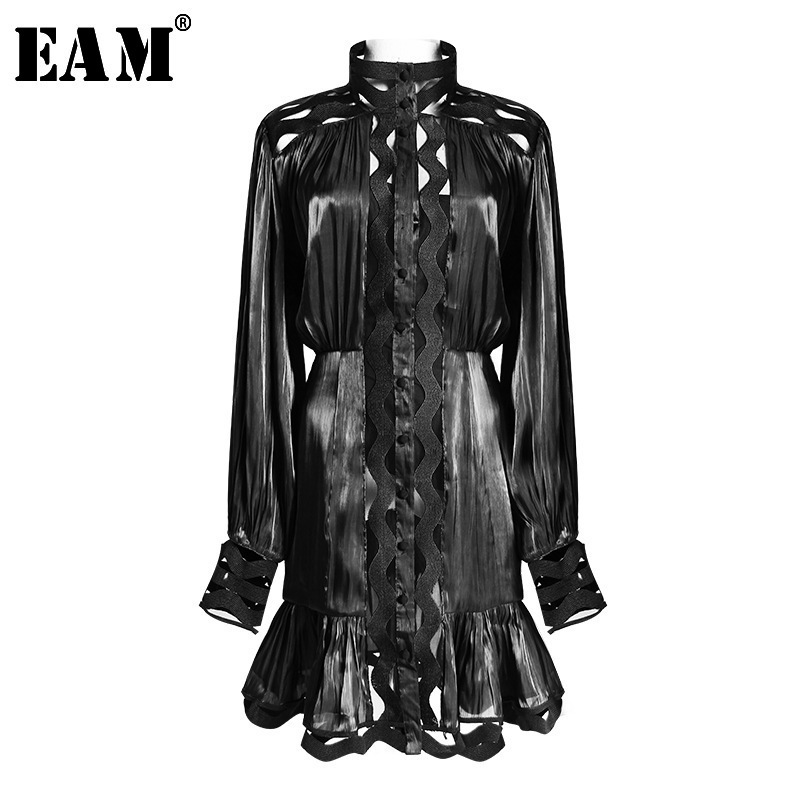 [EAM] 2020 New Spring Autumn Stand Collar Long Sleeve Black Loose Hem Ruffles Stitch Two Piece Dress Women Fashion Tide JO609