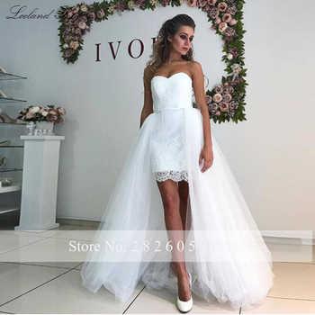 Simple Sheath Lace 2 in 1 Beach Wedding Dresses 2020 Strapless Sleeveless Detachable Train Tulle Knee Length Bridal Dress