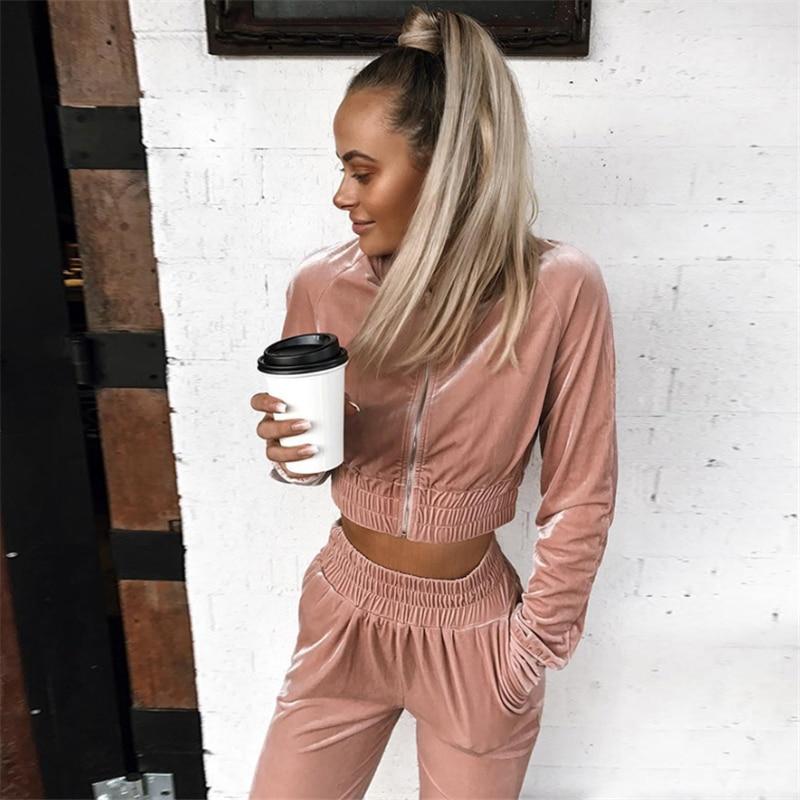 2019 Autumn Winter Clothes Fashion Women Sweatshirt Crop Top Pants Sets Velvet Tracksuit Velour Smooth Soft Suit Women 2Pcs Set