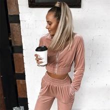 2019 Autumn Winter Clothes Fashion Women Sweatshirt Crop Top Pants Sets