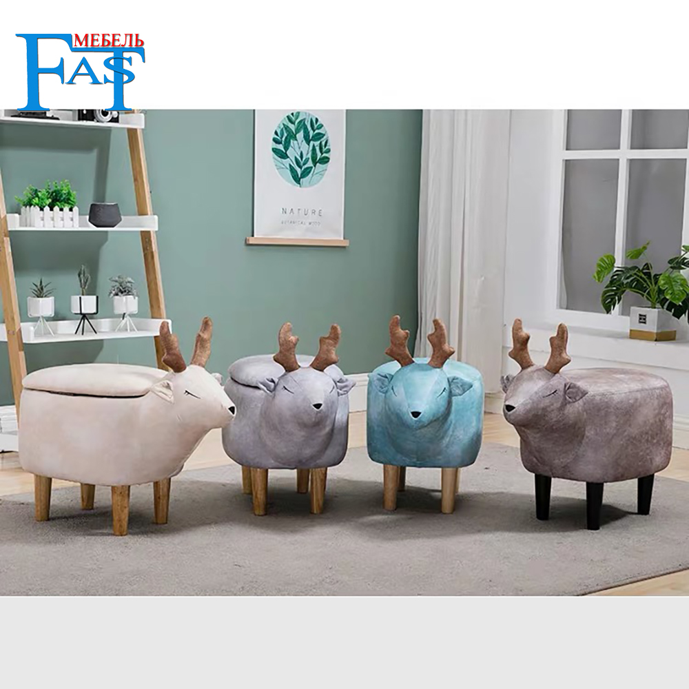 Children Chair Animal Chair Deer Stools Handmade Wooden Stools Whit Plush Cartoon Free Shipping For Russia