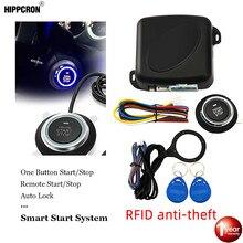 Hippcron botão de parada início do motor alarme carro rfid keyless sistema entrada botão remoto starter stop auto