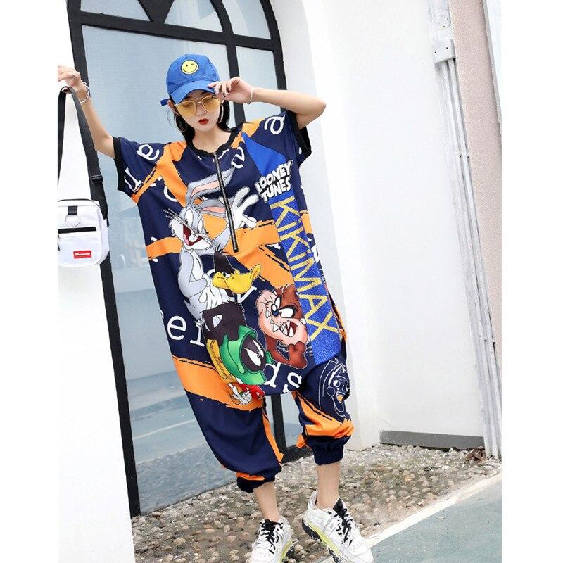 2020 Spring Summer Fashion Jumpsuit Women Street Loose Was Thin Cartoon Digital Printing Short Sleeve Tide Brand Jumpsuit Women