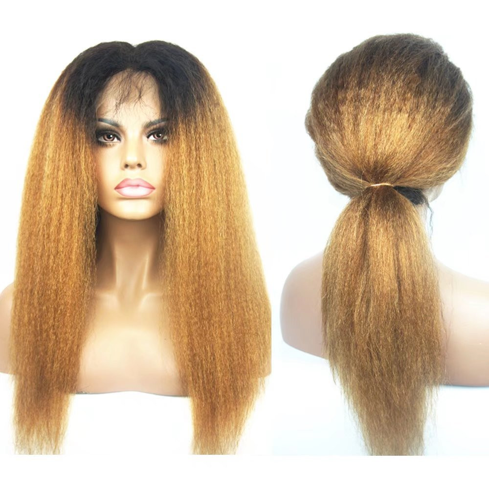 Eseewigs Ombre T1b/27 Color 13x6 Lace Front Wigs Kinky Straight For Black Women Italian Yaki Wigs With Baby Hair Brazilian Remy