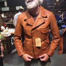 YR!Free shipping.Italy Oil Wax Cowhide coat.Helix Rider genuine leather jacket,w