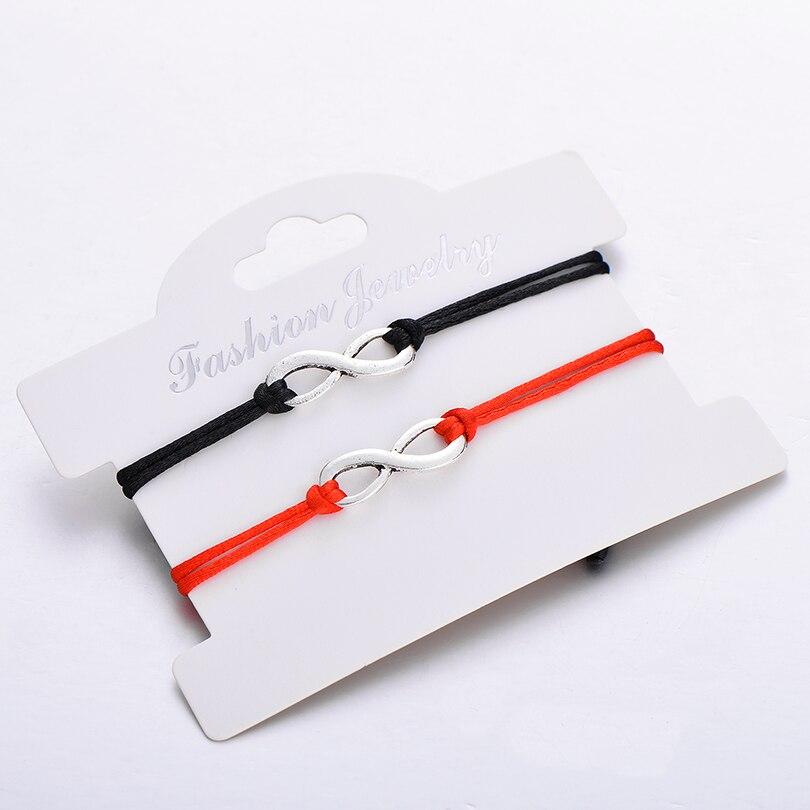 IYOE 2 шт./компл. винтажный бесконечный знак Шарм Браслеты для пар дружеские красные и черные веревки ручной работы женские браслеты мужские ю...