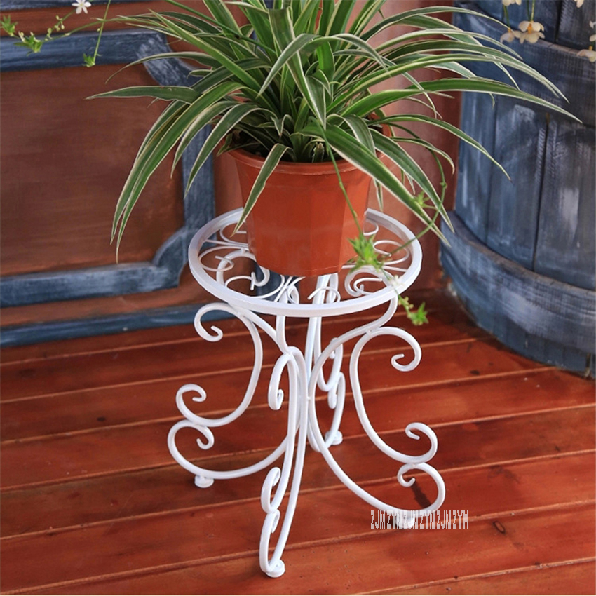 SM-022 European Style Creative Round Stool Single Layer lron-Flower-stand Living Room Floor Type Flower Rack Iron Pergola title=