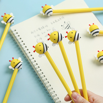 2pcs Mini HoneyBee Pen Ballpoint Black Color Gel Ink Roller Ball Pens for Writing Cute Yellow Honey Bee gift Office School F983 real picasso 917 ballpoint pen roller ball pen office and school writing supplies gel pens business gift free shipping