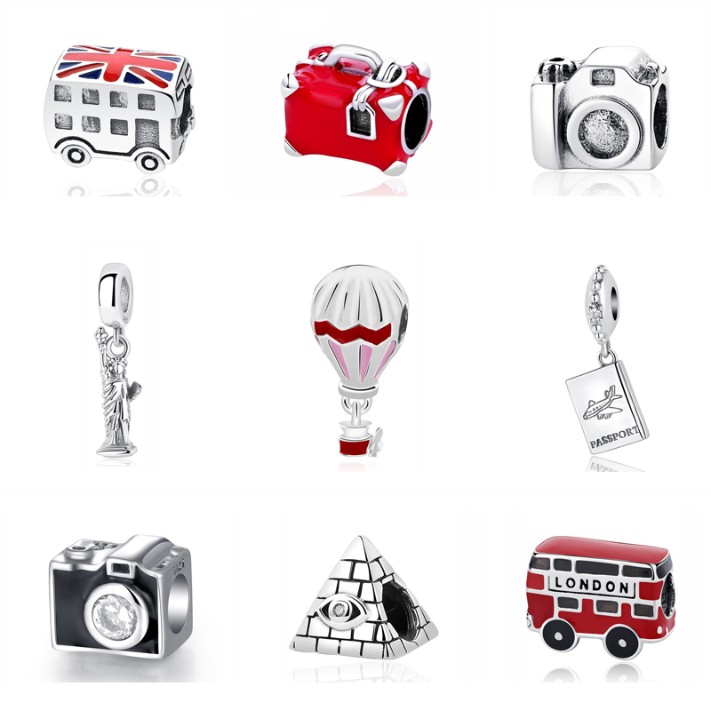 Original 925 Sterling Silver Charm Fit Bracelet Love Travel Camera Colosseum London Bus Charms Beads Women Diy Jewelry|beaded jewelry|fit pandora braceletfit pandora - AliExpress