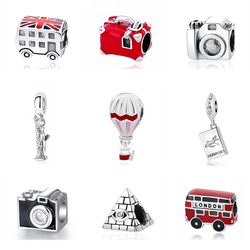 Original 925 Sterling Silver Charm Fit Pandora Bracelet Love Travel Camera Colosseum London Bus Charms Beads Women Diy Jewelry