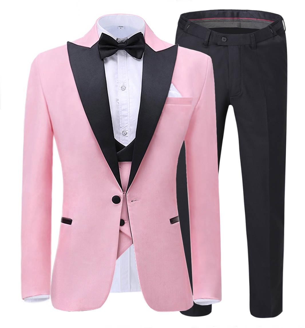 2020 New Fashion Men's Suit 3-Pieces Slim Fit Shawl Lapel Tuxedos Groomsmen For Wedding,party (Blazer+vest+Pants)