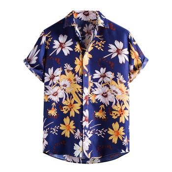 Tropikalne kwiaty drukuj koszule z krótkim rękawem dla mężczyzn hawaje bluzka plażowa bawełniana koszula z krótkim rękawem koszula z kołnierzykiem topy tanie i dobre opinie ISHOWTIENDA CN (pochodzenie) COTTON POLIESTER Solo KOSZULE CODZIENNE SHORT Plaża summer Wykładany kołnierzyk Jednorzędowe