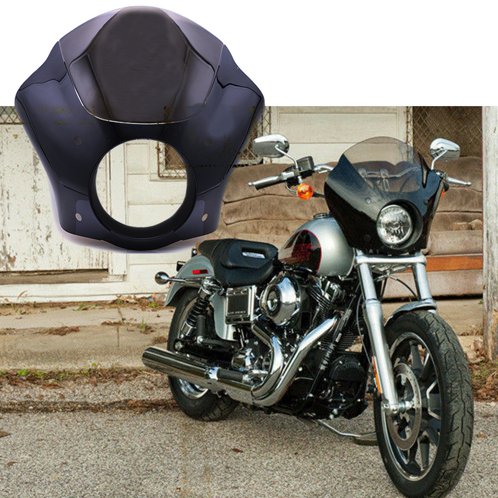 Глянцевая черная защитная маска для фар Harley Sportster XL883 XL1200 Road King Electra Glide Dyna, 7 дюймов
