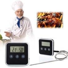 Thermomètre numérique à lecture instantanée, minuterie professionnelle pour aliments BBQ viande, avec sonde à distance, four, jauge de température, alerte