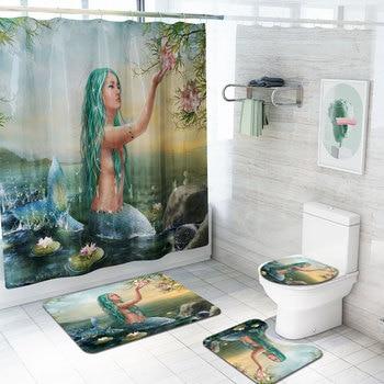 4Pcs Sea Mermaid print Hook shower curtain Bathtub Carpet Commode Cover Bathroom Rug Washable Toliet Bath Mat Tapete Banheiro