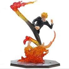 Figuras de acción de One Piece, Sanji Fire, modelo de pie, juguete de PVC de 160mm, Sanji Anime japonés, figura de Anime