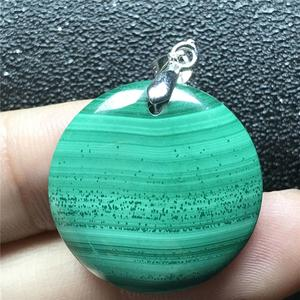 Image 2 - 24x6mm doğal yeşil malakit kolye kolye kadın için bayan erkek kristal 925 gümüş yuvarlak boncuk taş kolye takı AAAAA