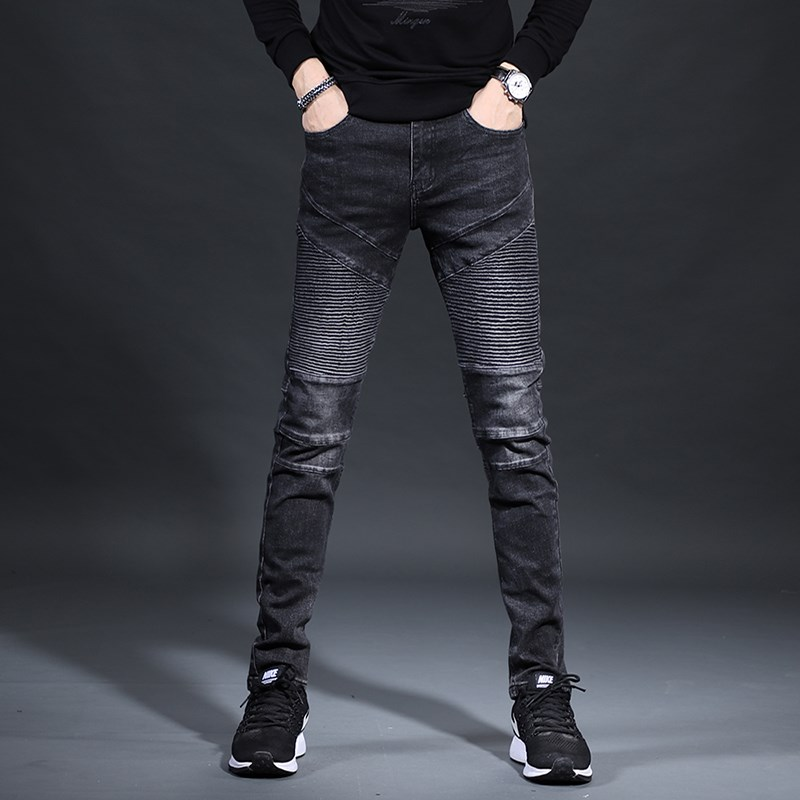 Free Shipping New 2020 Men's Male American Jeans Brand Slim Feet Pants Plus Velvet Thick Autumn And Winter Motorcycle Trousers