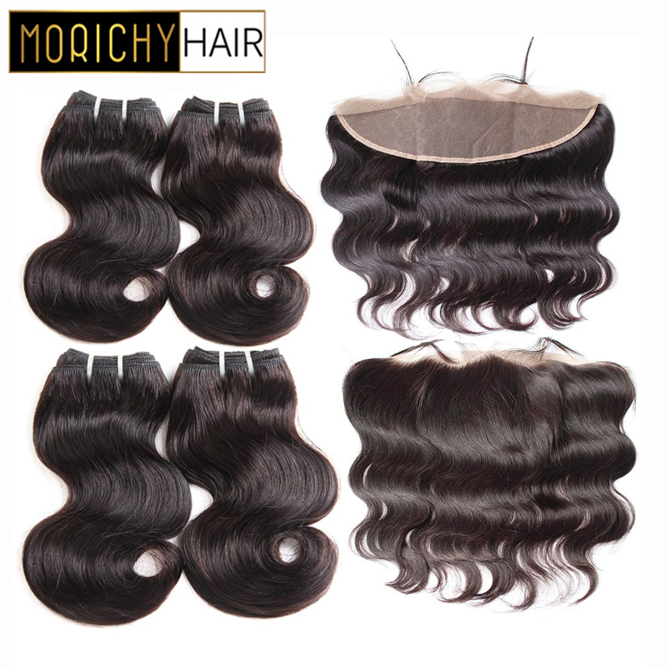 MORICHY Body Wave Bundles With 13X4Lace Frontal Malaysian Hair Non-Remy Human Hair Weave Bundles Tissage Cheveux Natural Hair
