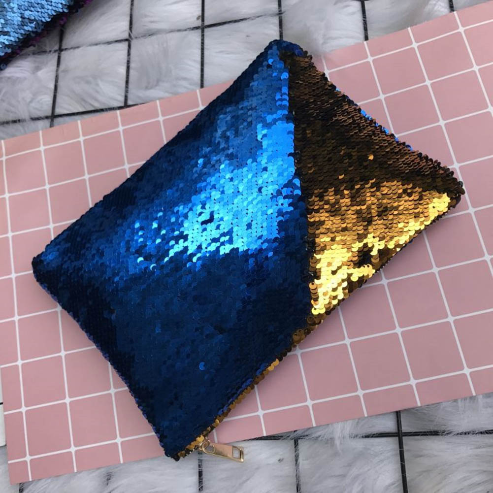 Women Mermaid Sequins Cosmetic Bag Large Capacity Handbag Evening Envelope BlingBling Bags Pouch FO Sale
