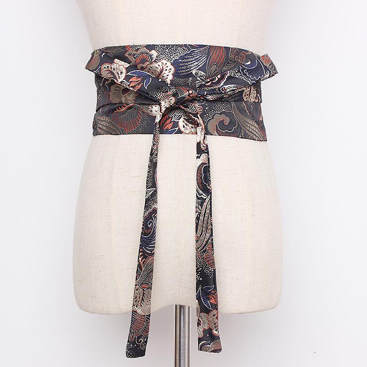 Women's Runway Fashion Vintage Print Satin Cummerbunds Female Vintage Dress Corsets Waistband Belts Decoration Wide Belt R2161