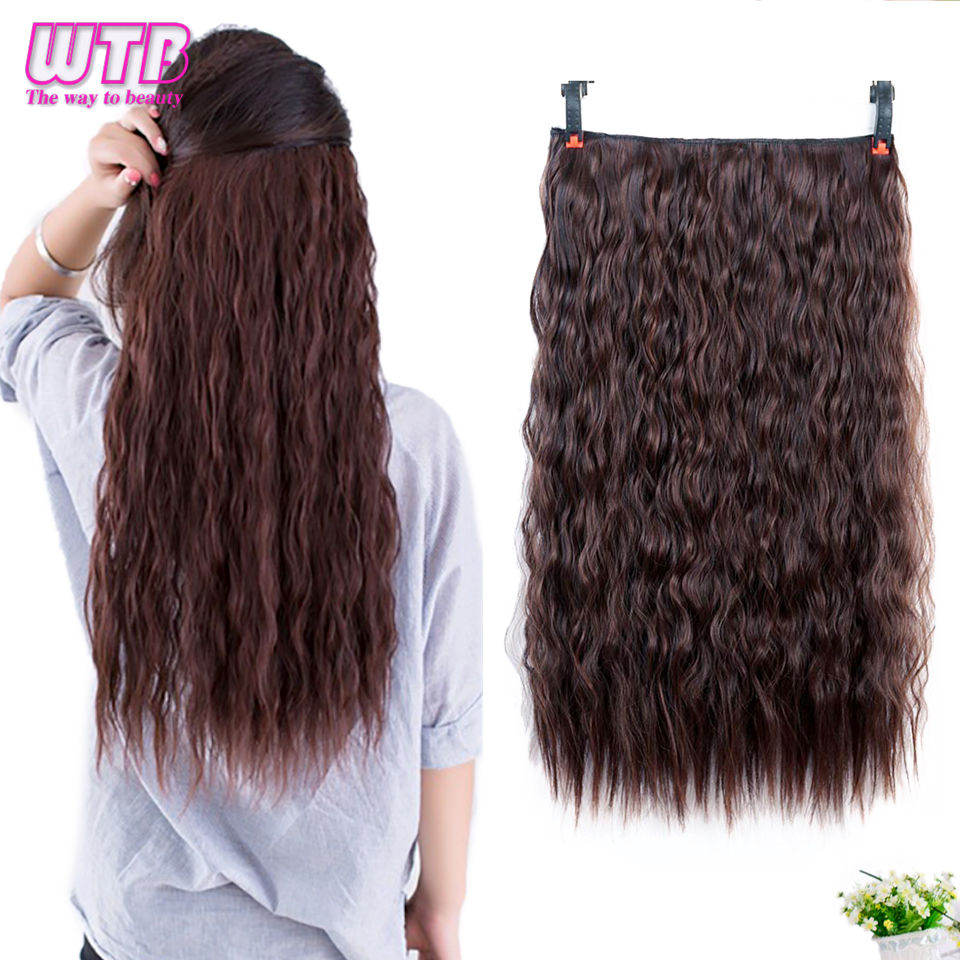 WTB Long Corn Curly Hair 5 Clip In Hair Extensions For Women Synthetic Culry  Heat Resistant Fake Hair Pieces