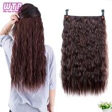 купить WTB Long Corn Curly Hair 5 Clip In Hair Extensions for Women Synthetic Culry  Heat Resistant Fake Hair Pieces по цене 317.84 рублей