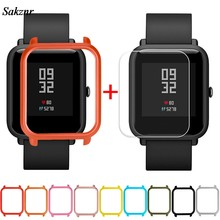 SAKZNR 1Pc Case Cover Shell For Xiaomi Huami Amazfit Bip Youth Watch With Screen Protector Smart Watch Protector Accessories(China)