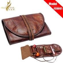 Оригинальная кожаная сумка Органайзер OLDFOX из крафт бумаги, чехол для трубы, зажигалки, карман для 2 трубок fc0001