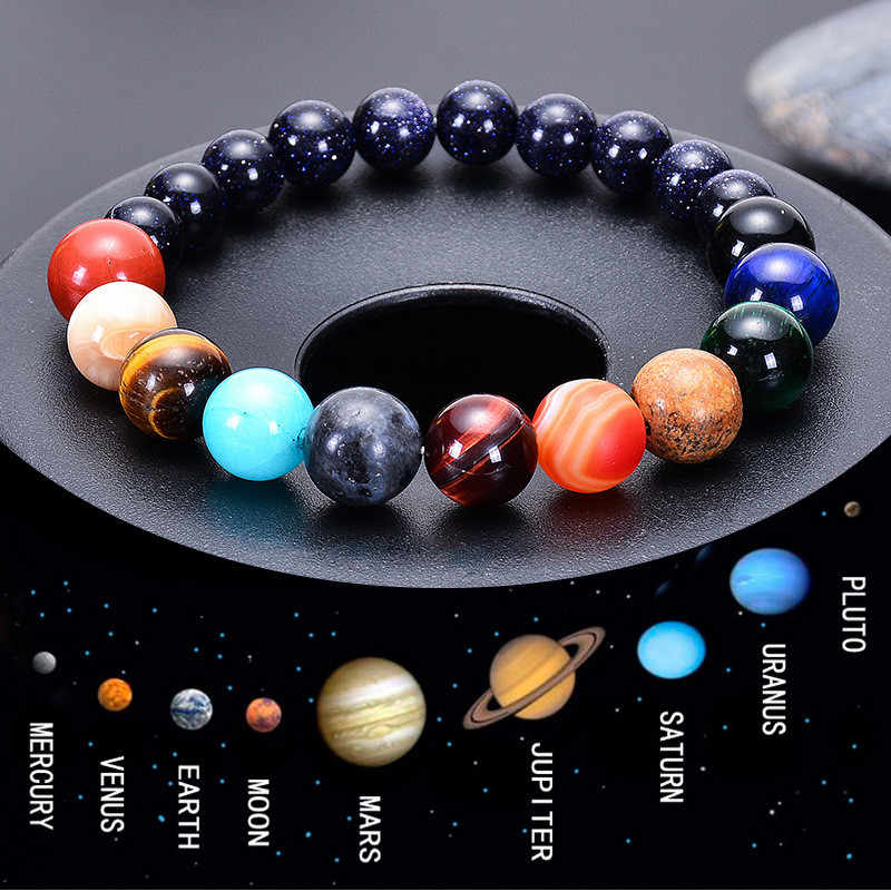 Pecinta Delapan Planet Batu Alam Gelang Alam Semesta Yoga Chakra Galaxy Tata Surya Gelang untuk Pria atau Wanita Perhiasan Dropship