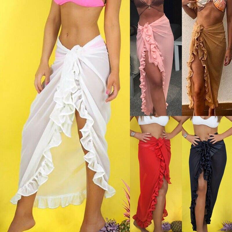 Women Swimwear Bikini Cover Up Sheer Beach Skirt Sarong Pareo Long Maxi Solid Skirt