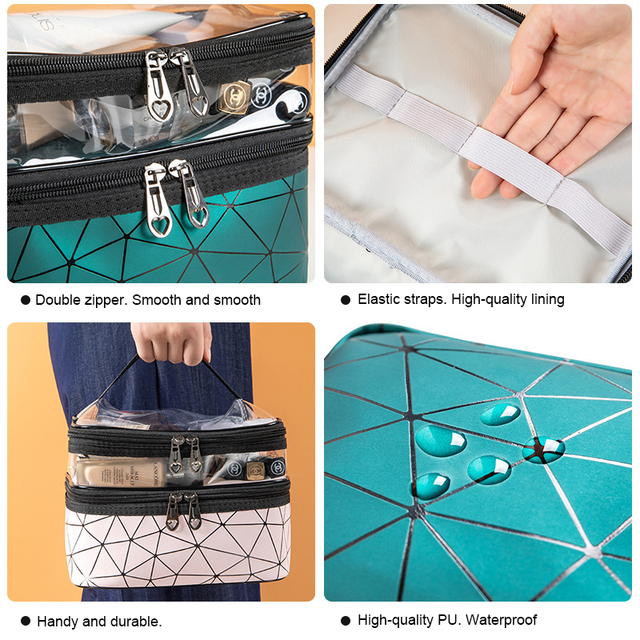 Multifunction Travel Clear Makeup Bag Fashion Diamond Cosmetic Bag Toiletries Organizer Waterproof Females Storage Make Up Cases 6