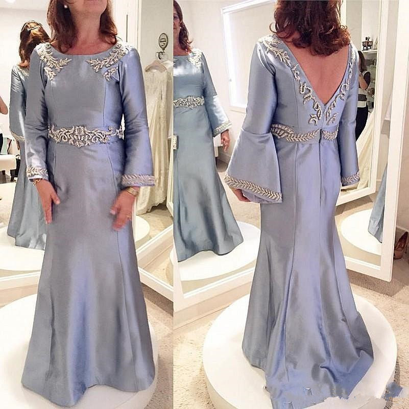 Saudi Arabia Evening Gowns Long Sleeves Mermaid Mother Of The Bride Dresses Backless Beads Mother Dress 2020