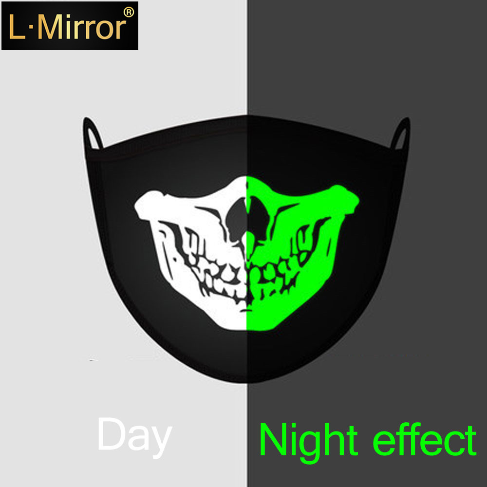 L.Mirror 1Pcs Luminous Cotton Unisex Anti-dust Black Mouth Mask Cover With Glowing Green Vampire Teeth Print For Men Women Boys