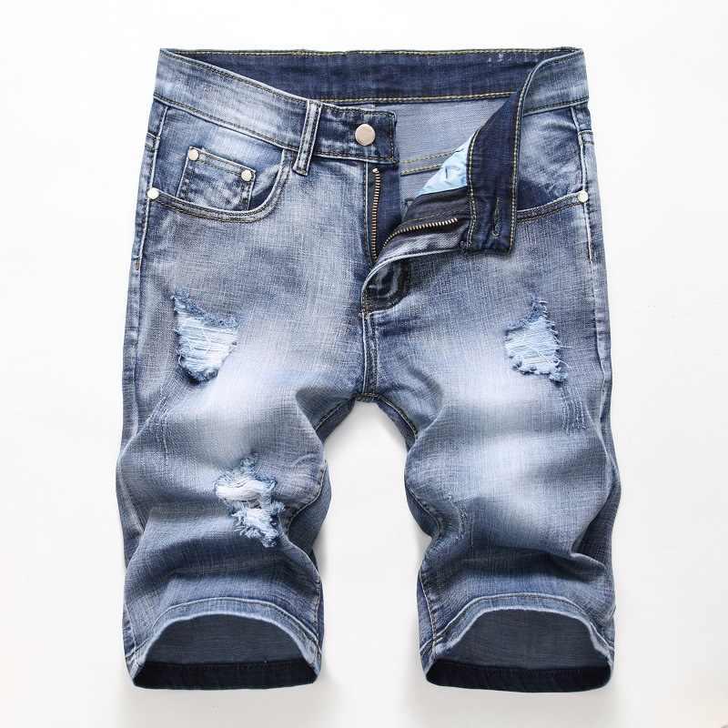 Erkek kot şort yırtık 2020 sıcak yaz pantolon delik sıkıntılı Bermuda erkek streç diz boyu Vintage kısa kot pantolon şort erkekler