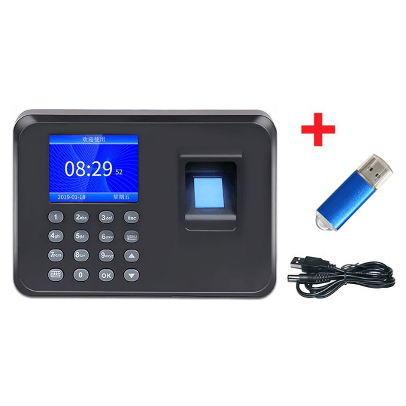 1Pc Fingerprint Time Attendance&Punching Machine Chinese English Spanish And Portuguese Password Punching Office Desktop Supply
