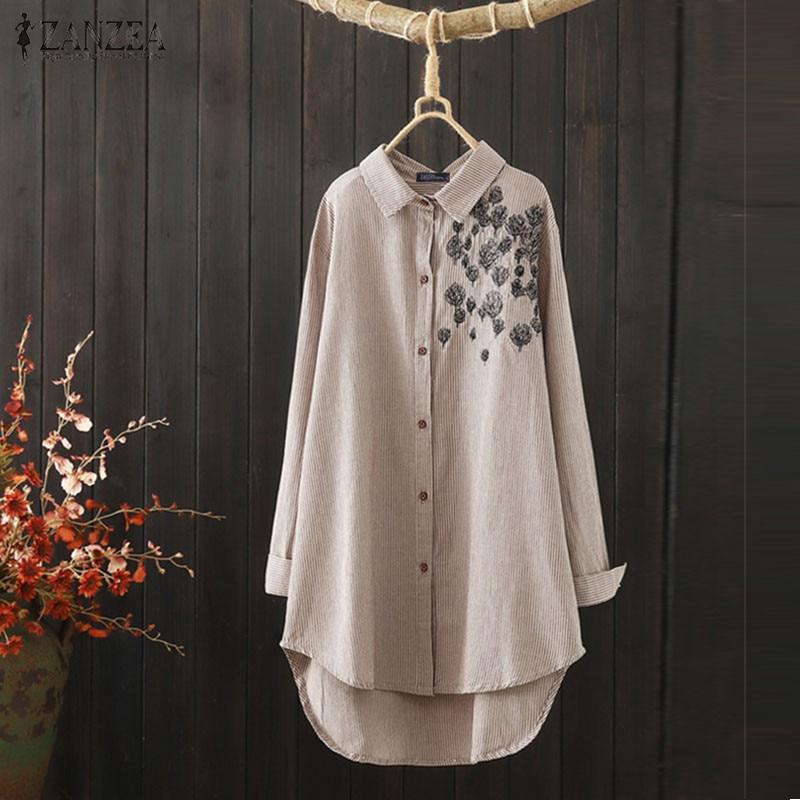 ZANZEA Women Cotton Embroidered Shirt Tops Asymmetrical Crochet Blouse Tops Plus